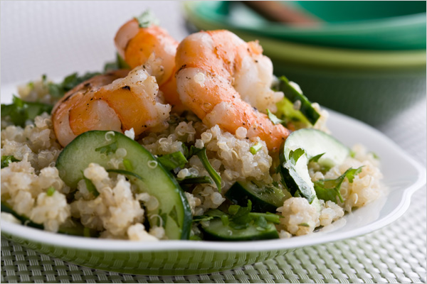 Sofies Verden :: Quinoa Salad With Lime Ginger Dressing and Shrimp