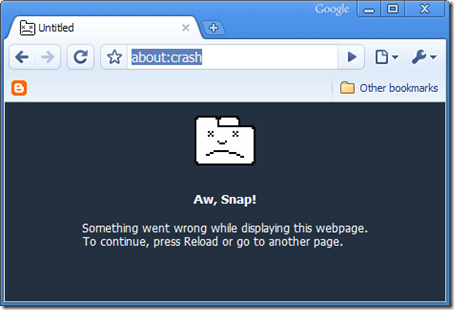 Google Chrome Error Message: Aw Snap