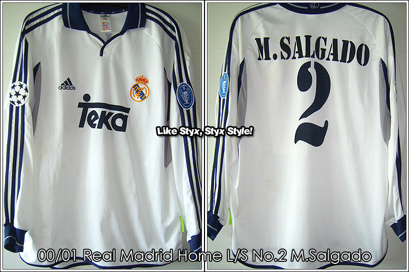 00/01 Real Madrid Home L/S No.2 Salgado Match Worn (vs. Bayern 09 May 2001)