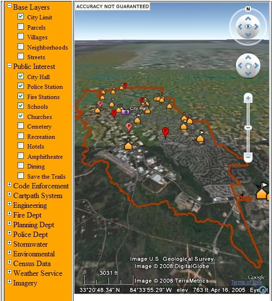 PeachTree시의 구글어스 플러그인을 활용한 GIS