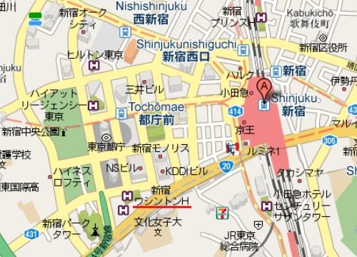 구글맵(Google Maps) 일본 동경 신주쿠역 일대 : 영어 지원의 예
