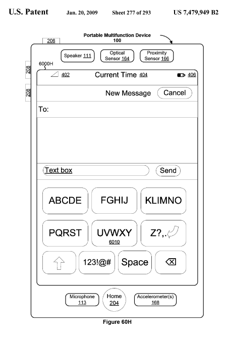Apple iPhone Touch UI Patent: Touch-friendly GUI