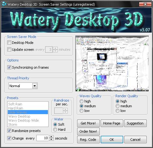 Watery Desktop 3D 물방울 화면보호기