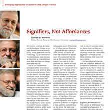 Signifier, Not Affordance, a column by Don Norman