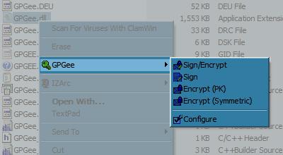 파일탐색기에 GPGee가 연결된 모습