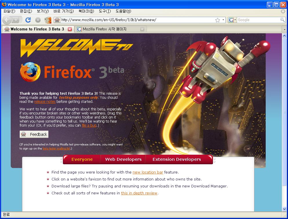 Mozilla Firefox 3 beta 3 화면