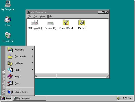 <화면 3> 윈도우95